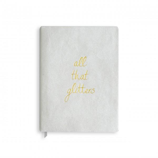 """Notizbuch """"All that Glitters"""" - Groß (Silber) von KATIE LOXTON"""