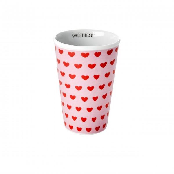 """Rice Porzellan Tall Becher """"Sweet Hearts - Sweetheart"""" - 300 ml (PInk)"""