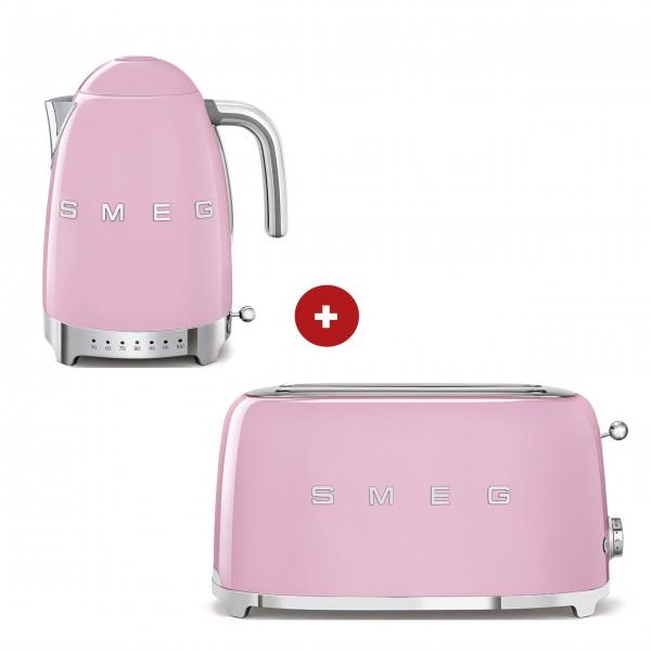 smeg Set – 2-Schlitz-Toaster lang und Wasserkocher variable Temperatur (Cadillac Pink)