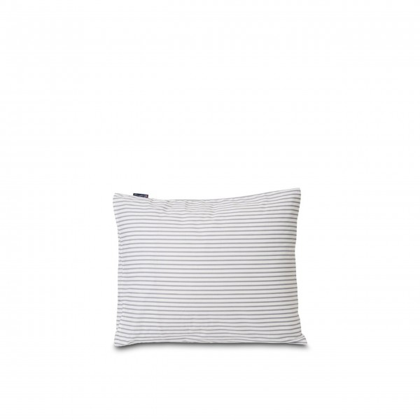 Bettwäsche Kissenbezug aus Baumwolle/Tencel - 80x80 cm (Blau/Weiß - Gestreift) von Lexington