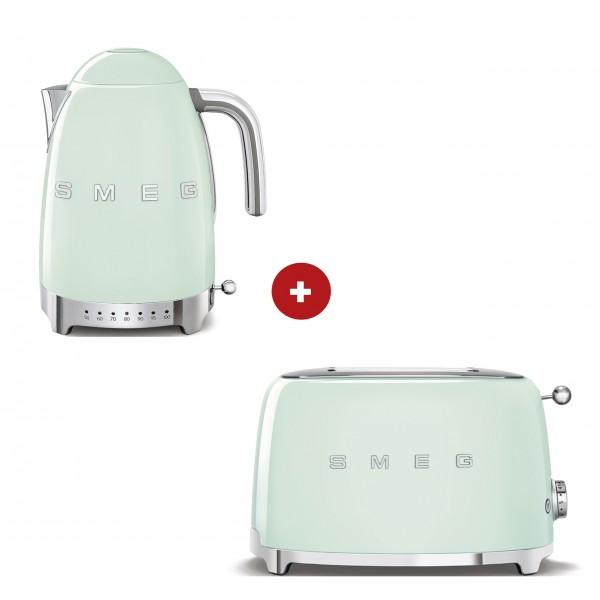 smeg Set – 2-Schlitz-Toaster kompakt und Wasserkocher variable Temperatur (Pastellgrün)