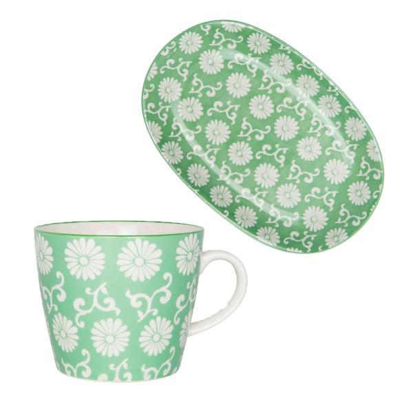 Porzellanset aus Becher und Teller - von Ib Laursen