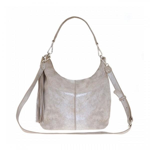 """Tasche aus Leder """"Used Look"""" (Sand/Silber) von Nicole Pietag"""
