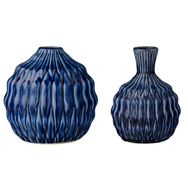 Blaue Vase im 2-er Set von Bloomingville