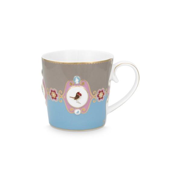 """Pip Studio Große Tasse """"Love Birds - Medallion"""" - 250 ml (Blau/Khaki)"""