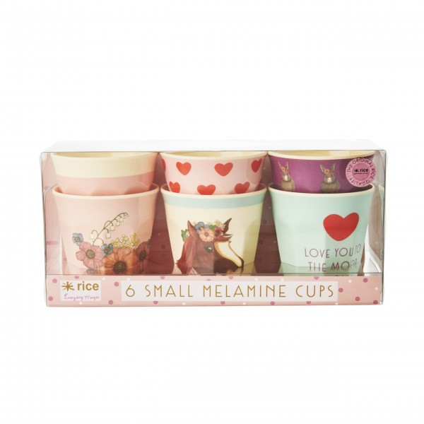 "rice Melamin Kinderbecher ""Farm Animals"" (Rosa) - im 6er Set"