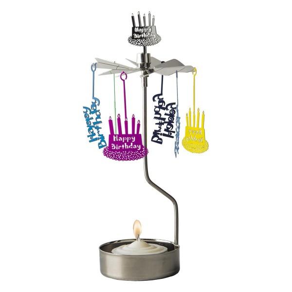 """Teelichtkarussell """"Happy Birthday"""" (Silber/Bunt)"""