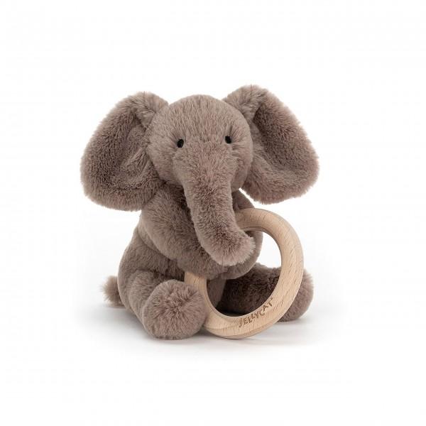 "Jellycat Greifring aus Holz ""Shooshu - Elefant"" (Grau)"