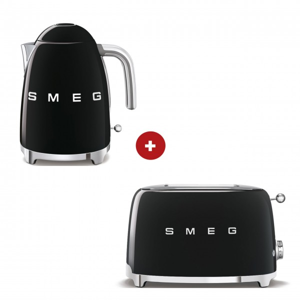 smeg Set – 4-Schlitz-Toaster und Wasserkocher feste Temperatur (Schwarz)