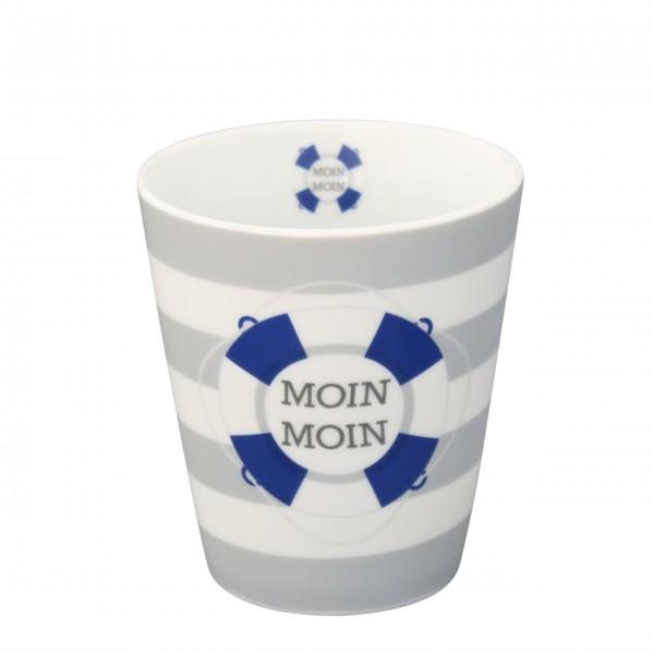 """Krasilnikoff Happy Mug """"Moin Moin"""" (Grau)"""