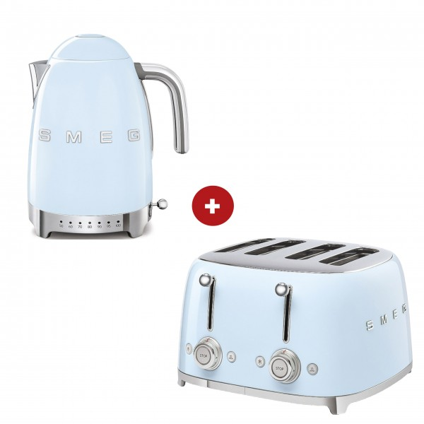 smeg Set – 4-Schlitz-Toaster und Wasserkocher variable Temperatur (Pastellblau)