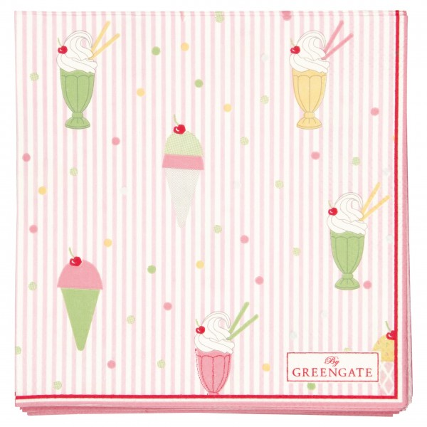"GreenGate Papierserviette ""Isa"" - 20 Stk. (Pale pink)"