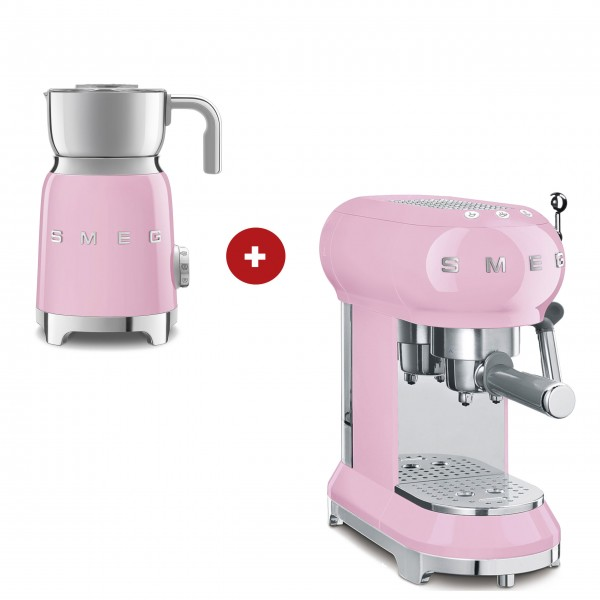 smeg Espressomaschine und smeg Milchaufschäumer im Set (Cadillac Pink)