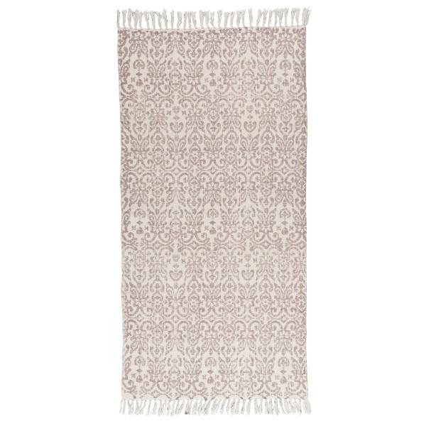 hellrosa Teppichläufer mit Mustern und Fransen, von Ib Laursen