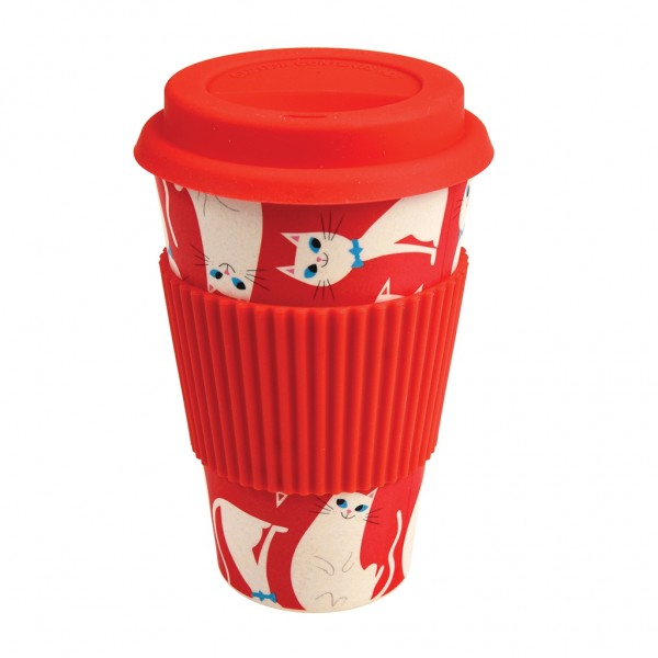 "Coffee to go Becher aus Bambus ""White Cat"" von Rex LONDON"