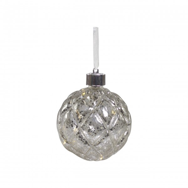 "Christbaumkugel mit LED ""Karo-X19"" (Silber) von Chic Antique"