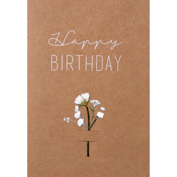 """Glückwunschkarte """"Happy Birthday"""" - Blumen (Braun/Weiß)"""