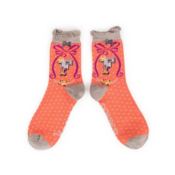 "Powder Damen Socken ""A-Z"" - Buchstabe F"