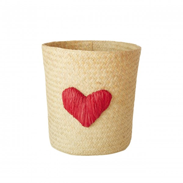 "rice Korb aus Raffia ""Heart - Herz"" (Rot)"