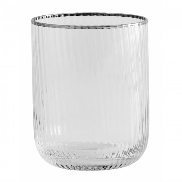 """Hieraus schmeckt das Wasser gleich viel besser! Das Nordal Wasserglas mit Silberrand """"Rilly"""""""