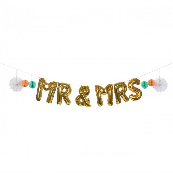 Goldene Hochzeitsgirlande zum Aufblasen