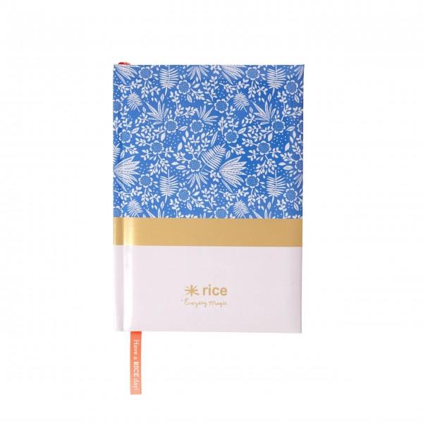 """rice Notizbuch A5 """"Blauer Farn"""" - liniert"""