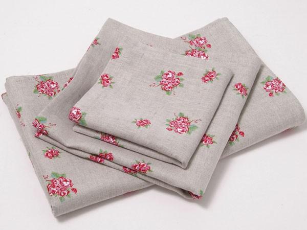 """Country Home Style Tischdecke """"Rosanna"""" (grau, rosa) 69x69cm"""