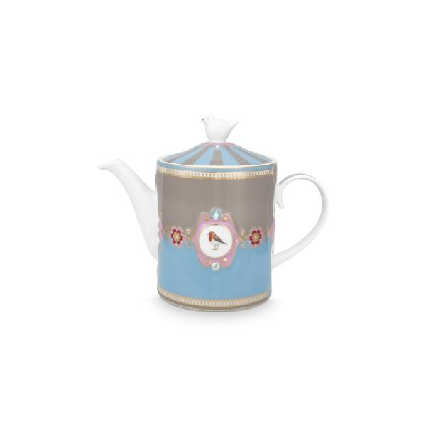"Pip Studio Teekanne ""Love Birds - Medallion"" - 1,3 l (Blau/Khaki)"