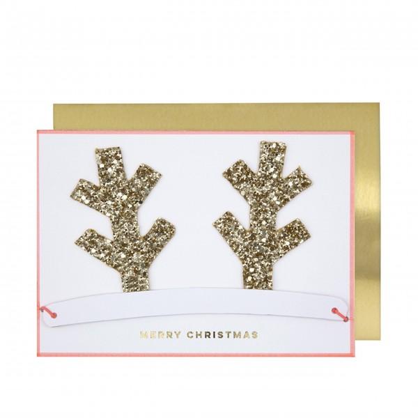 """Weihnachtskarte """"Glitzer-Geweih"""" von Meri Meri-1"""