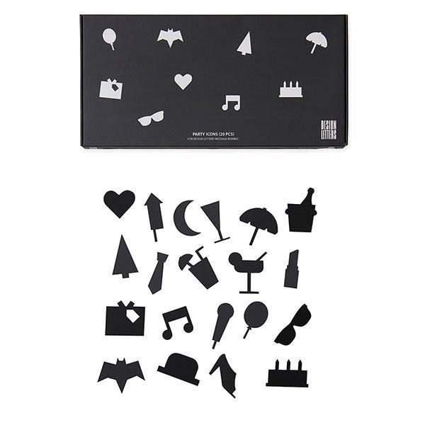 DESIGN LETTERS Party Icons für Letterboard (Schwarz)