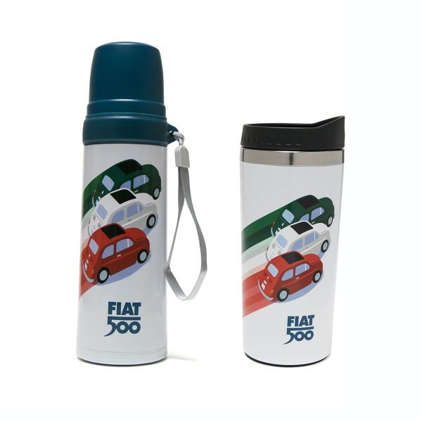 Kultige Thermosflasche und -becher im Set mit coolem Fiat500 Design