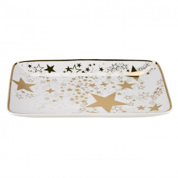 """Miss Étoile Servierplatte """"Sterne"""" - rechteckig 23x16 cm (Gold)"""