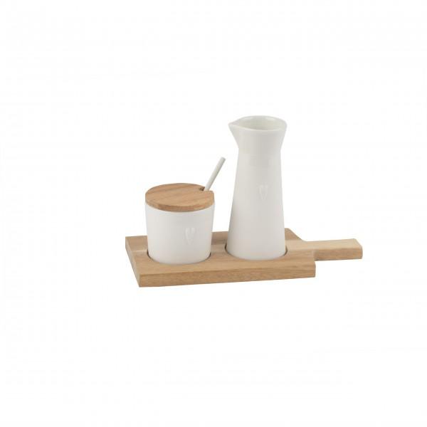 """Milch und Zucker Set auf Holztablett """"Kleine Freunde"""" (Weiß) von räder Design"""