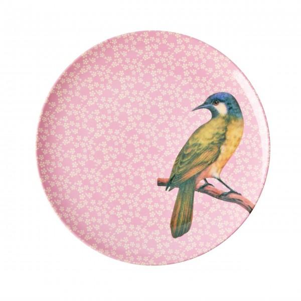 """Piep, piep, piep - hier kommt der Rice Melamin Dessertteller """"Vintage Bird"""" (Pink)"""