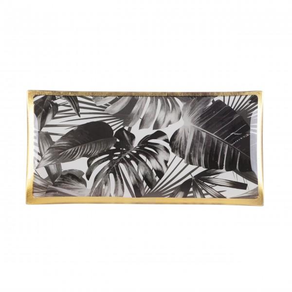 "Gift Company Glasteller L ""Black Leaves"""