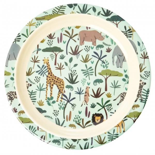 """rice Melamin Speiseteller für Kinder """"Jungle Animals"""" (Grün)"""