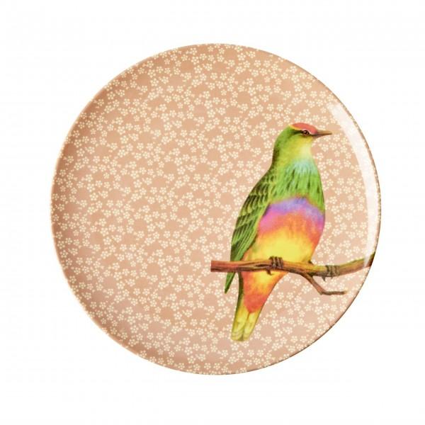"""Ein echter Vintage-Traum: der Rice Melamin Dessertteller """"Vintage Bird"""" (Nougat)"""