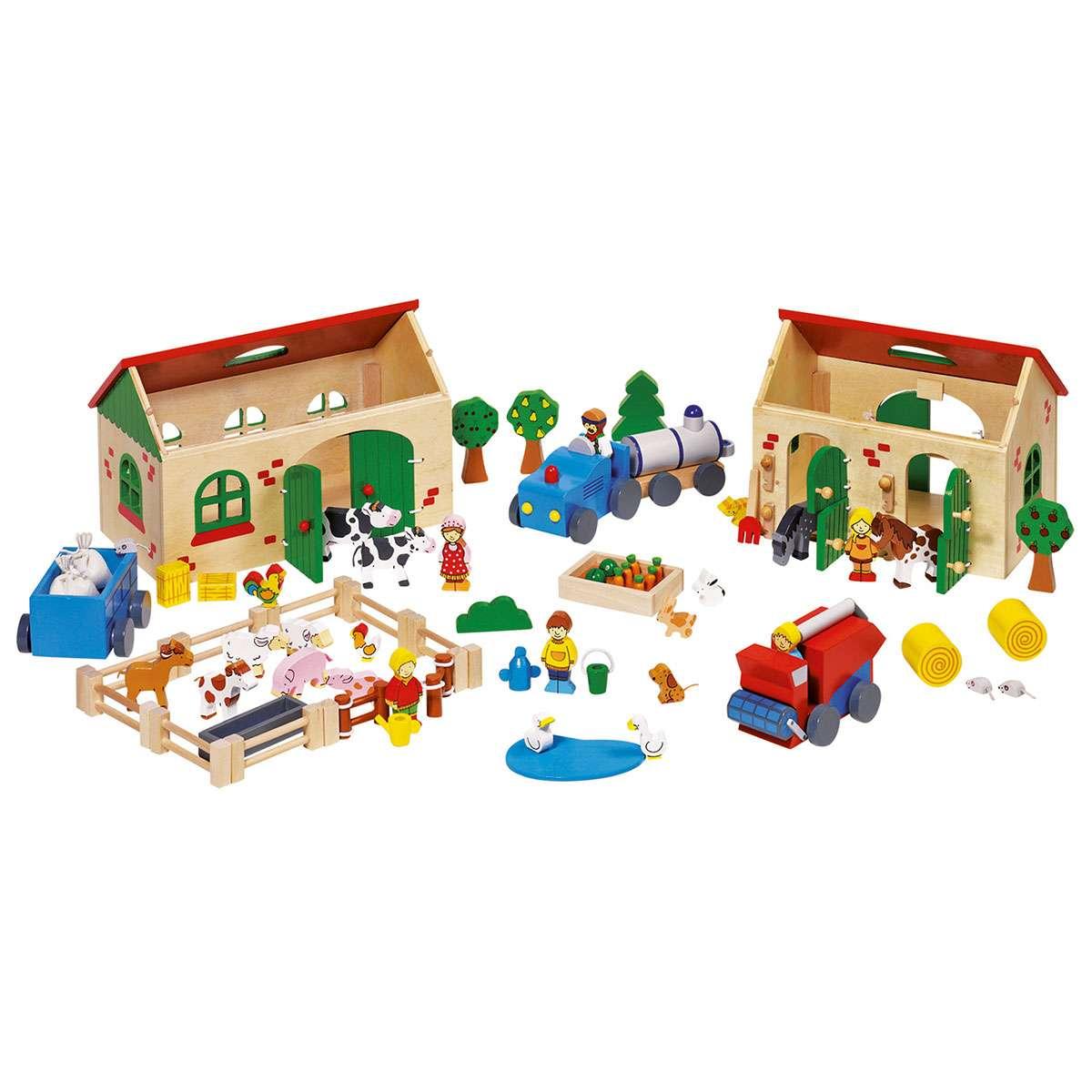 holzspielzeug: bauernhof aus holz - nostalgie im kinderzimmer