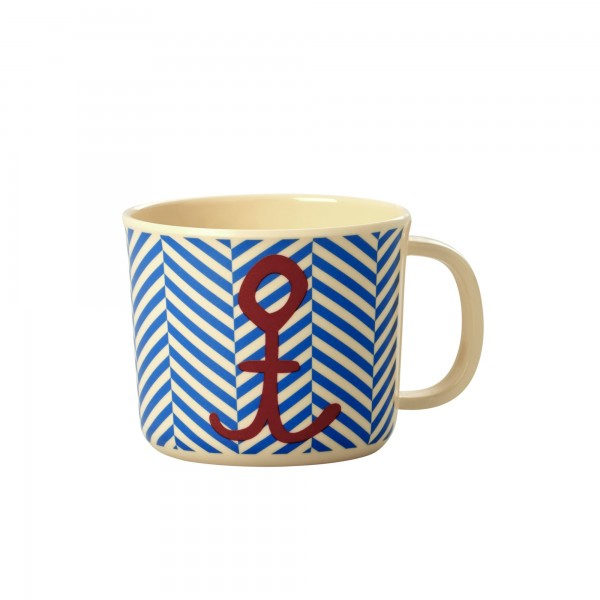 rice Baby Melamin Cup with Sailor Stripe and Anchor Print