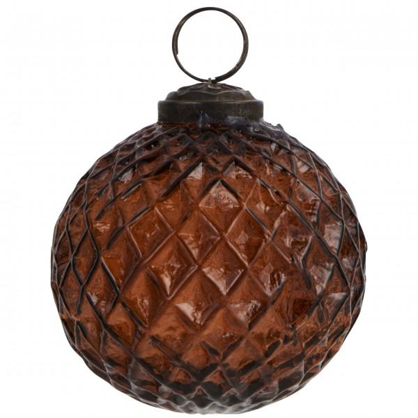 Ib Laursen große Weihnachtskugel Harlekinmuster (amber) im 2er-Set