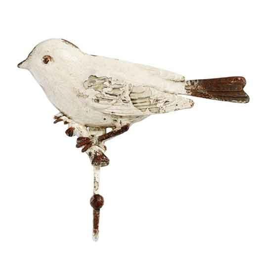 """Nordal Wandhaken """"Vogel Shabby Chic"""" (Weiß)"""