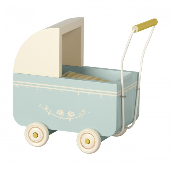 Maileg Holz-Kinderwagen für Micro (Blau)