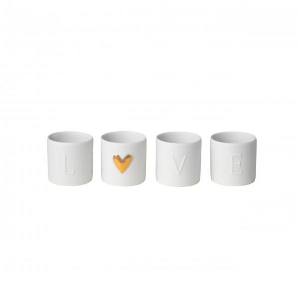 """Teelichthalter aus Porzellan """"Love"""" - 4er-Set (Weiß/Gold) von räder Design"""