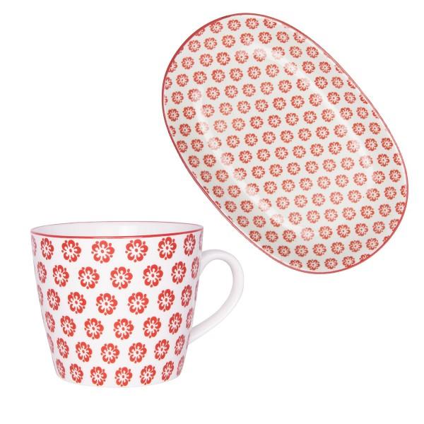 charmantes Geschirrduo von Ib Laursen: Teller & Tasse aus Porzellan, in rot
