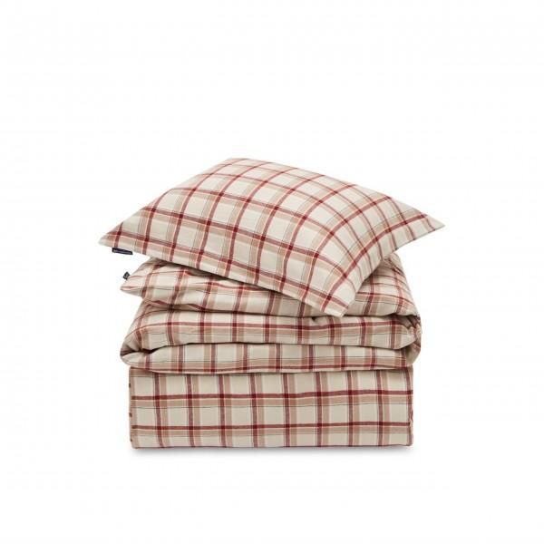 Bettwäsche-Set aus Baumwoll-Flannell (Beige/Rot) von Lexington