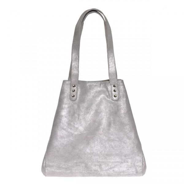 """Strandtasche aus Leder """"Used Look"""" - Medium (Sand/Silber) von Nicole Pietag"""