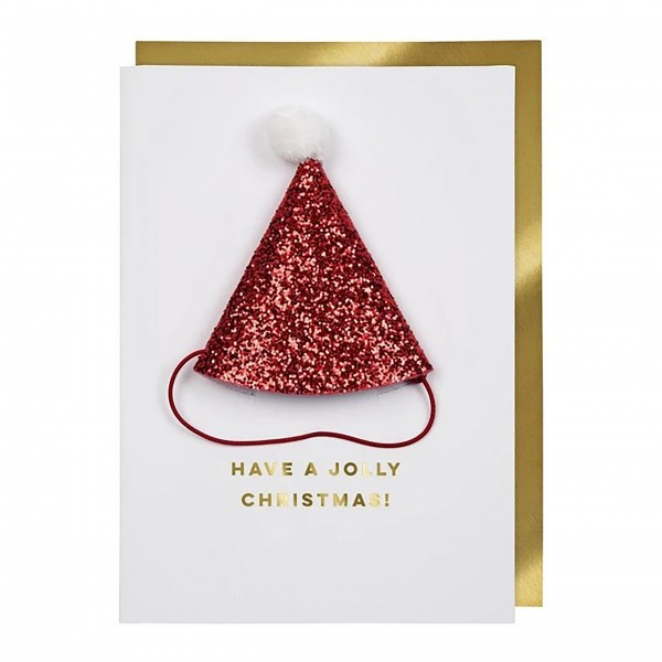 "Grußkarte ""Santa-Mütze"" von Meri Meri-1"
