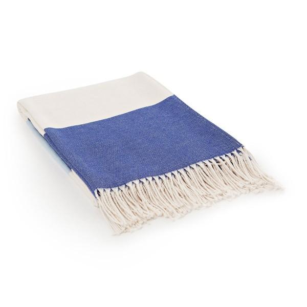"Lexington Fransendecke ""Block Striped"" (Blau/Weiß)"