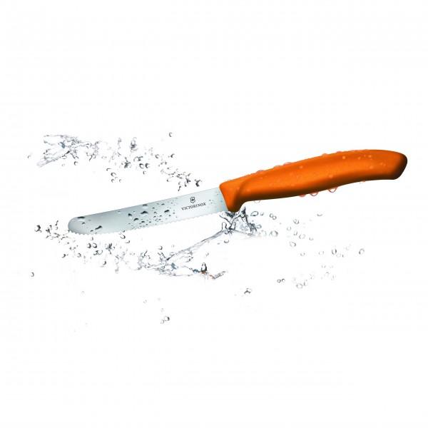 """VICTORINOX """"SwissClassic"""" Tomaten- und Tafelmesser rund Wellenschliff (orange) 11 cm"""