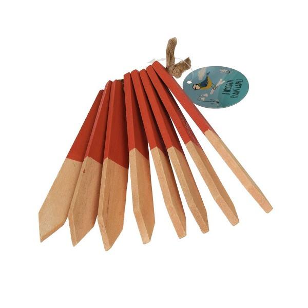 Pflanzenstecker aus Holz mit roter Markierung